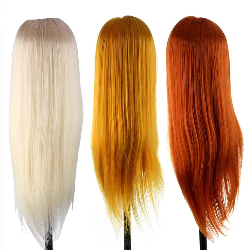 Professional 60cm Hairdressing Dolls Styling Mannequin Head Long Hair Practice Training Human Head Salon + Clamp Set