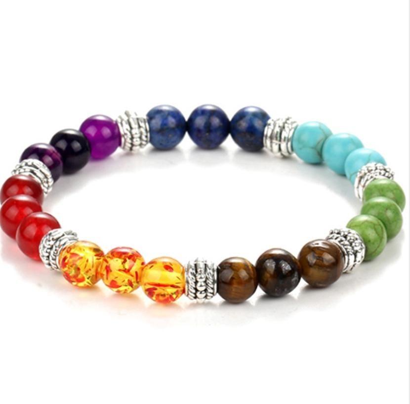 2017 New 7 Chakra Bracelet Men Black Lava Healing Balance Beads Reiki Buddha Prayer Natural Stone Yoga Bracelet For WomenKKA2571