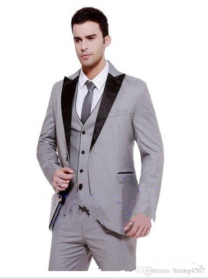 New Hot Sale One Button Light Grey Groom Tuxedos Peak Lapel Groomsmen Mens Wedding Dresses Prom Suits (Jacket+Pants+Vest+Tie) 1517