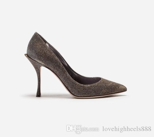 Bling Studded Pailletten High Heels Einzelne Schuhe Sexy Spitz Stiletto Heels Pumps Frauen Slip-On Frauen Party Schuhe