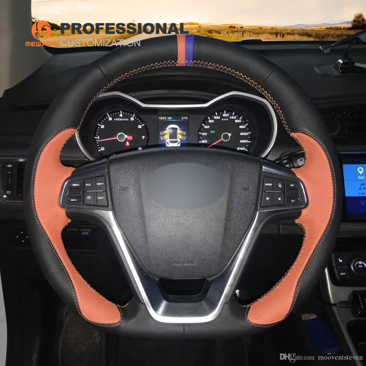 MEWANT Black Orange Leather Hand Sewn Car Steering Wheel Cover for Geely EMGRAND GT 2015 2016 2017