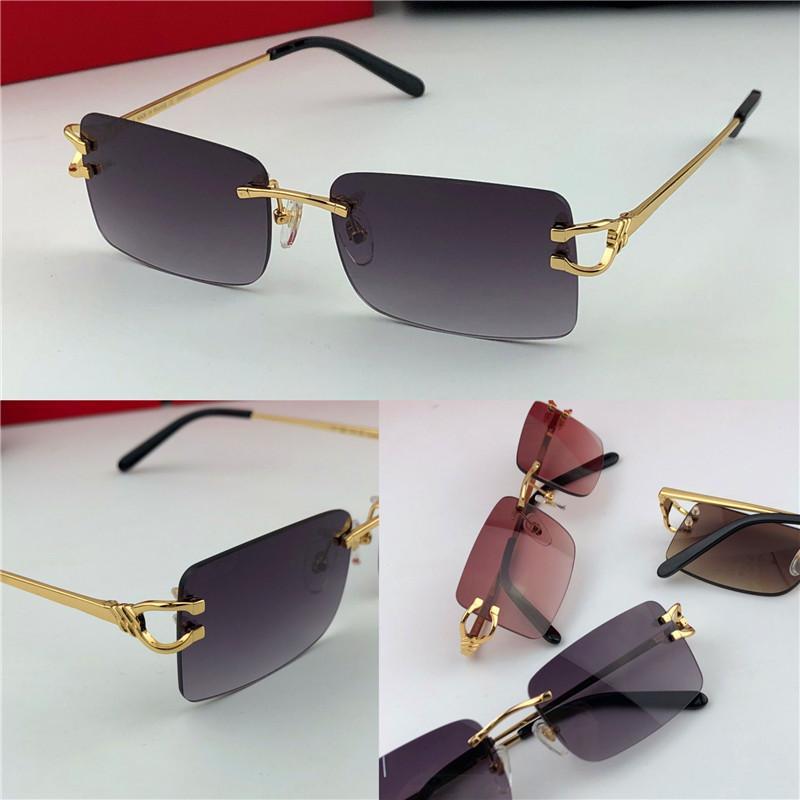 Migliore annata di vendita occhiali da sole di moda maschile senza cornice piccola cornice quadrata retrò design moderno UV400 occhiali d'avanguardia