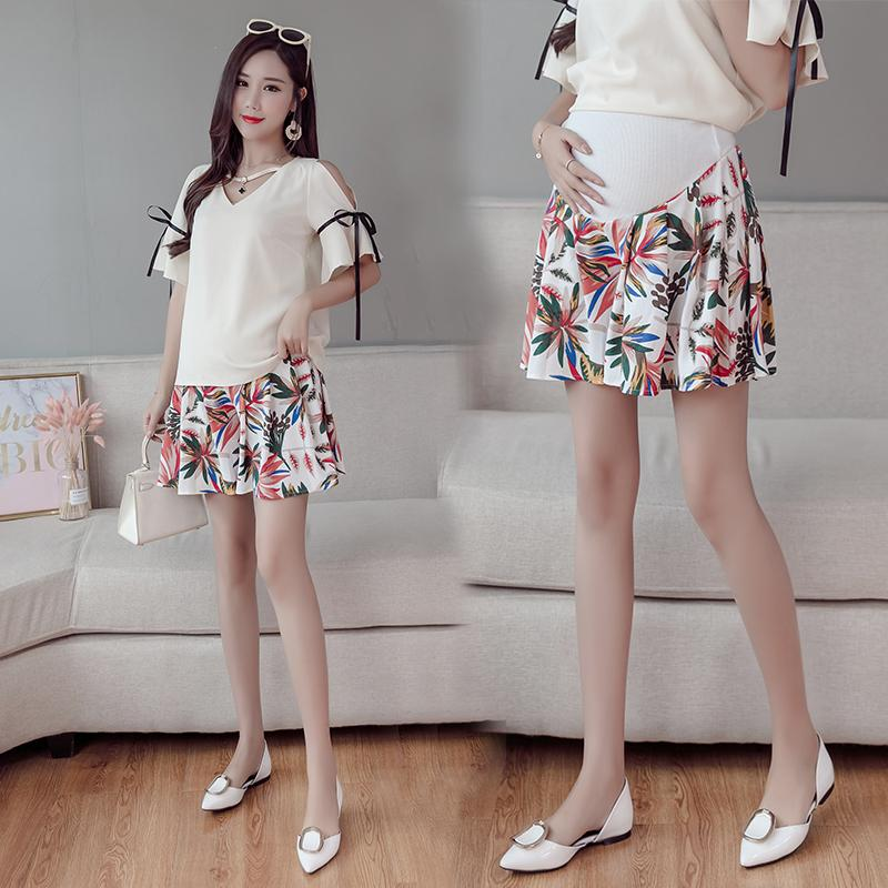 Maternity Shorts Pregnancy Short Pants For Pregnant Women Floral Loose Chiffon Summer wear High Elastic Belly Care Trousers
