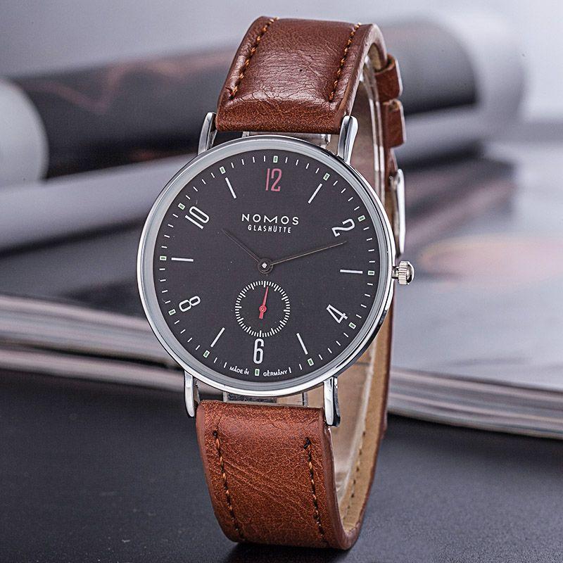 2018 Money Men Nomos Double Reloj Wristwatches Men Watches New Quartz Wristwatch Needle Classic Fashion Casual Leather Belt Htxnw