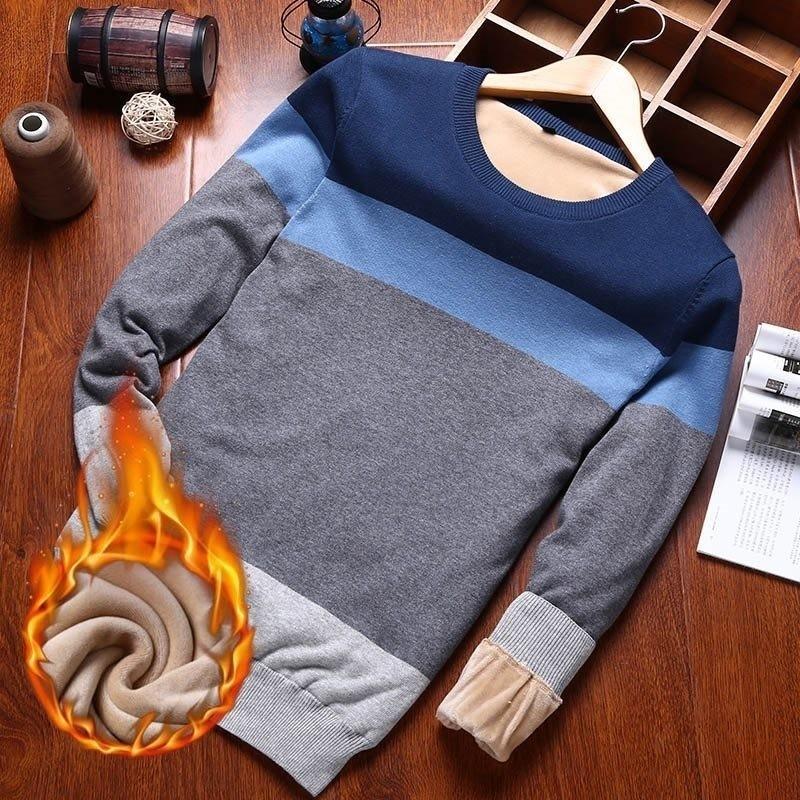 Varsanol Человек свитер хлопка с длинным рукавом Пуловеры трикотажные мужчин V-образным вырезом свитера Топы Трикотаж Полосатый Slim Fit Теплый пуловеры Новый SH190922