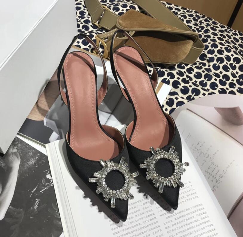 сексуальная остроконечная лодыжка ремень женщина мода Кристалл обувь грубая с высокими каблуками прозрачные дамы высокий каблук свадебные сандалии