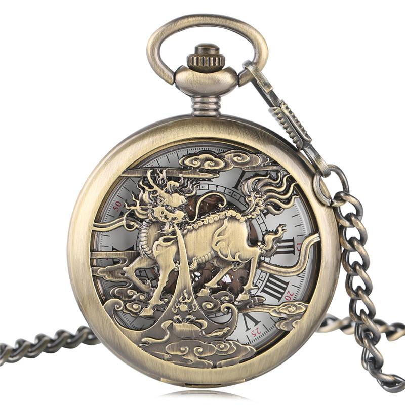 Retro Unicorn Bronze Mechanical Automatic Pocket Watch Half Hunter Men Women Vintage Roman Numbers Dial Pendant Gift