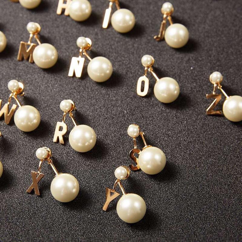 Marca de moda de joyería para las mujeres grandes de la perla 26 pendientes de la letra One Pcs joyería del partido diseño de hipérbole pendientes Diy pendientes J190721