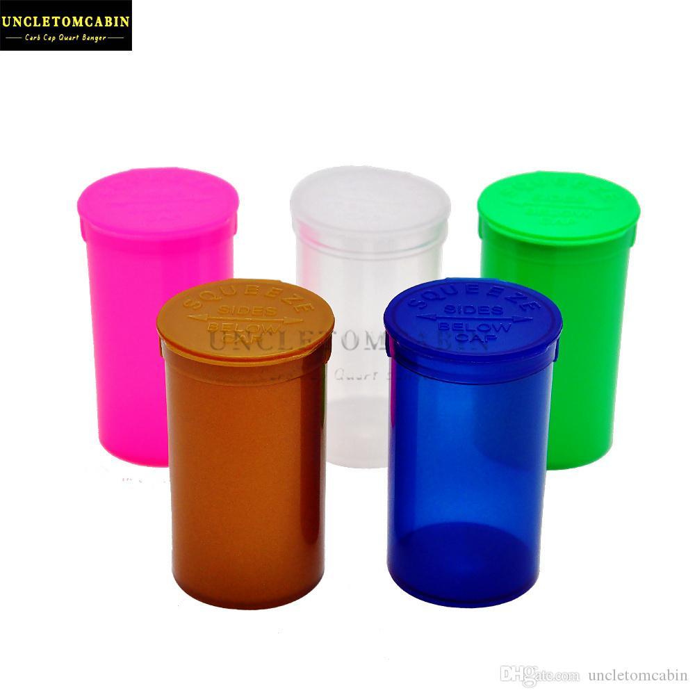 New 19 Dram Squeeze Bottle Pop Top seco Herb Pill Box Caso Box armazenamento caso Airtight Herb Contentores de fumar cachimbos Stash Jar