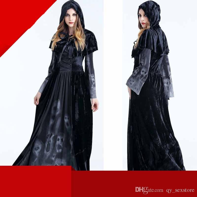 Costume di Halloween Costumi Cosplay per la morte per adulti Black Black Mantello con cappuccio Scary Witch Devil Gioco di ruolo Cosplay Long Black Cloak New