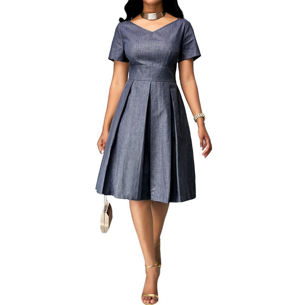 2019 Partido Plus Size Mulheres cor sólida Pescoço V manga curta de Slim cintura alta Midi Vestem