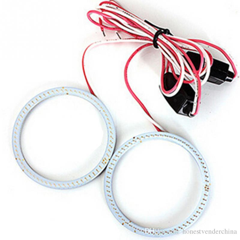2pcs 80mm Car 12V COB LED CCFL Halo Rings Angel Eyes Fog Light Head Lamp White