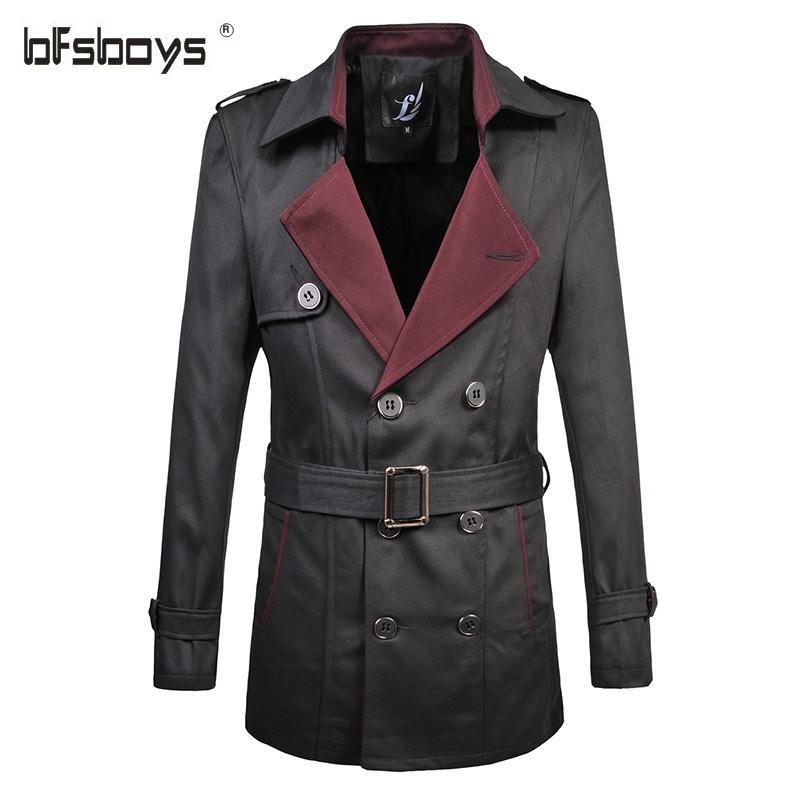 Mode Printemps affaires classique double boutonnage hommes Trench Coat avec ceinture Top Grande taille M Qualité-6XL