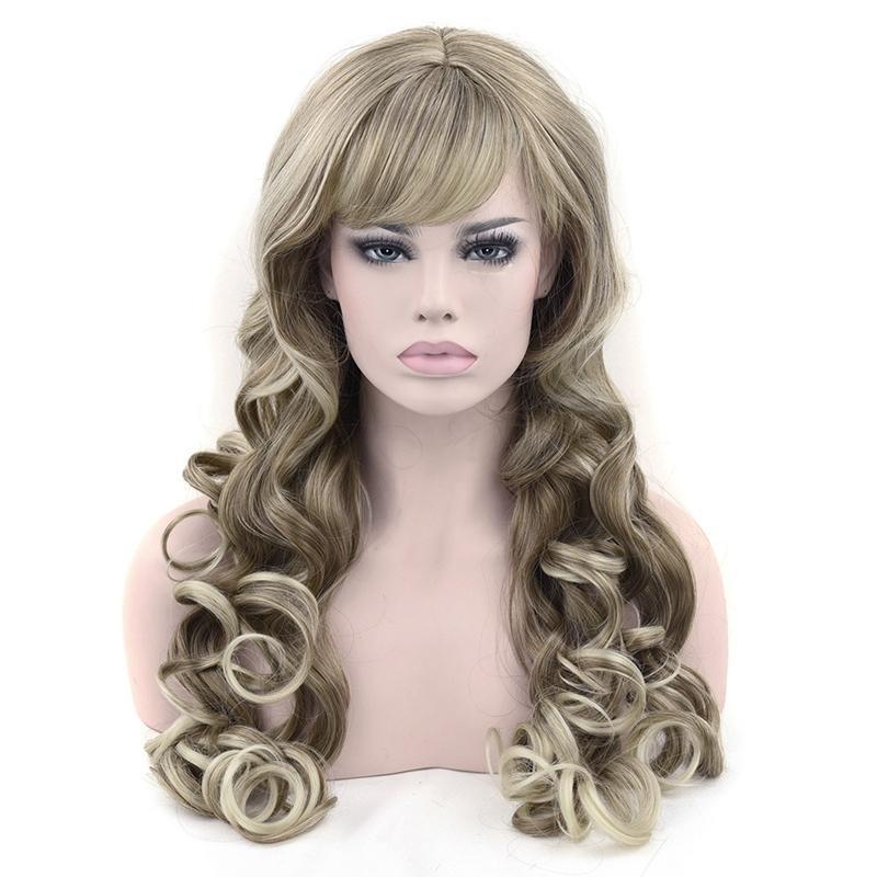 Z F 75 centímetros 260g Blonde e Brown Longo Big Jerry Curly Wavy sintético Perucas Natureza Com Cabelo Bangs para mulheres