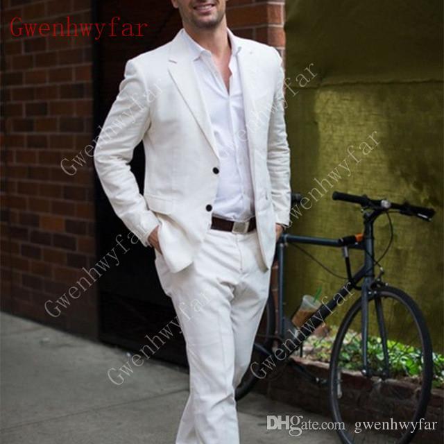Gwenhwyfar Últimos Diseños de pantalón de marfil Blanco Casual Hombres Traje 2019 Summer Beach Tuxedo Simple por encargo 2 unidades trajes para hombre