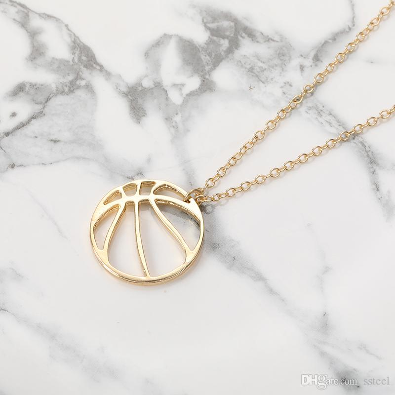 10pcs Origami Ball Round Circle Pendant Charm Necklace Simple Basketball Football Volleyball Jewelry Necklace Gift for Friends