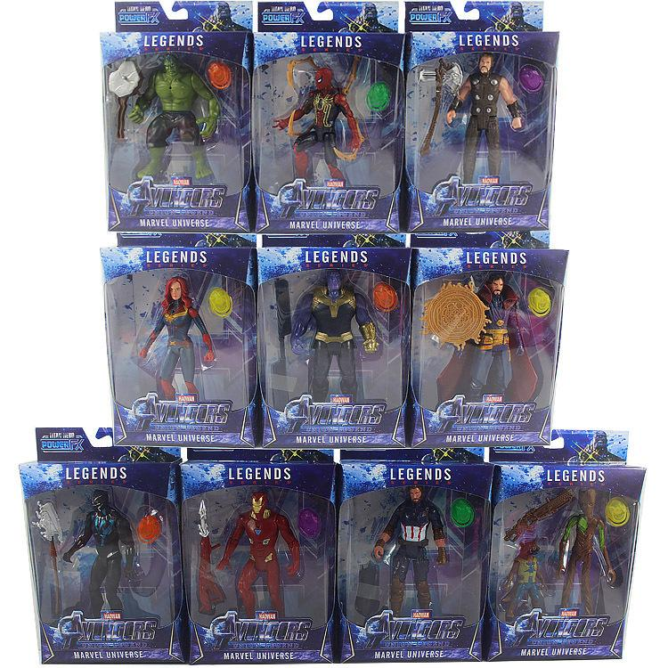 10pcs / set Marvel Toys The Avengers Figura com LED super-herói Batman Capitão América Action Figure Collectible Modelo Boneca