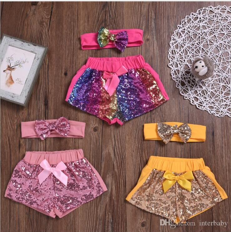 Kids Designer Clothes Girls Sequins Shorts Headband Sets Baby Bowknot Glitter Pants Boutique Dance Shorts Costume Casual Party Pants B5902