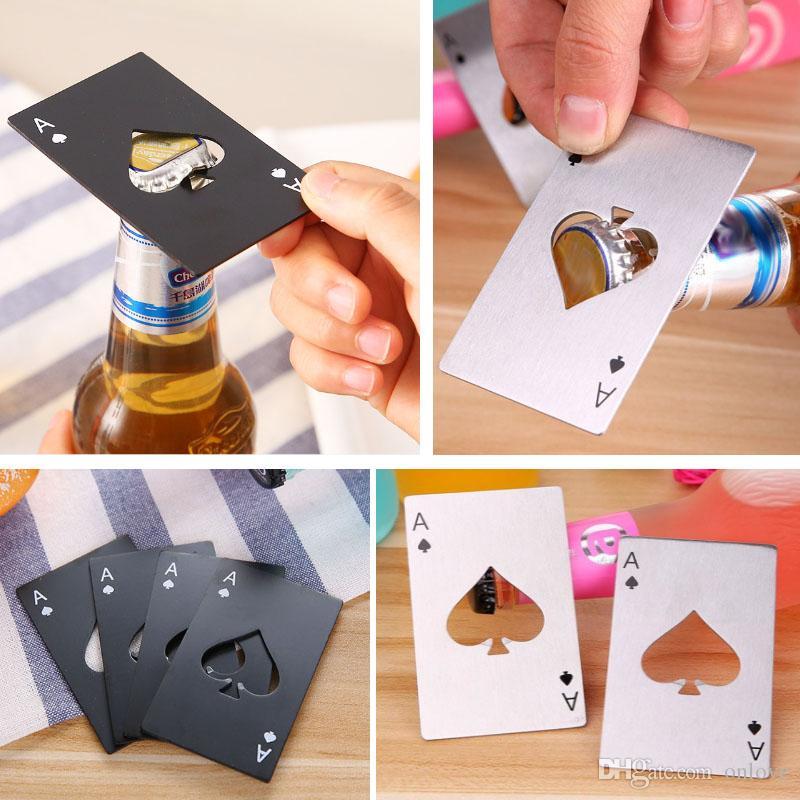스테인레스 스틸 신용 카드 오프너 포커 카드 바 요리 포커 카드 놀이 스페이드 도구 미니 지갑 오프너 바 XD20717