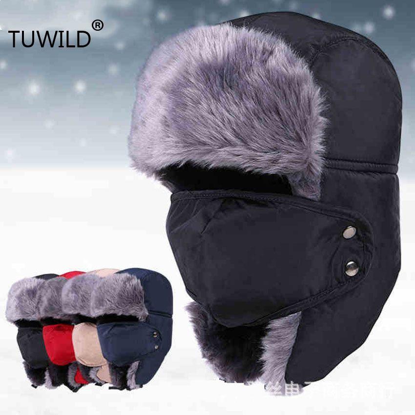 bouchon de neige d'hiver d'homme chapeau de cache-oreilles chaud hommes ushanka unisexe dames chapeau masque d'équitation d'hiver
