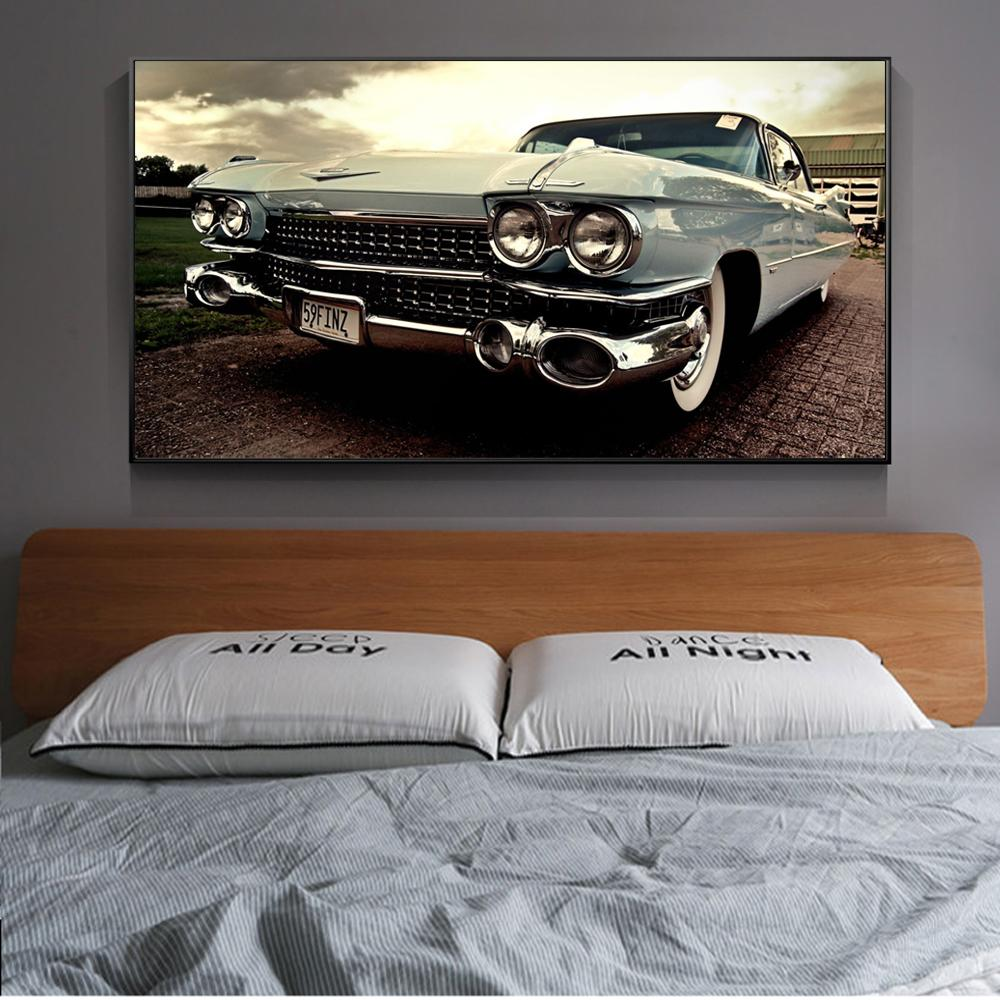 Vintage Classical Car Wall Posters And Prints Realist Classic Cars Wall Art for Living Room Home Decor (No Frame)