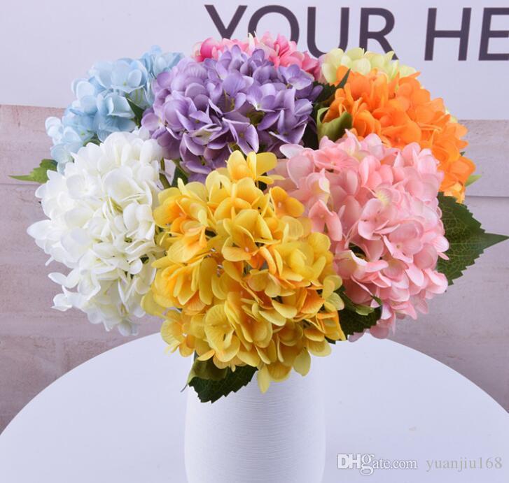 """DHL gratuit Soie Artificielle Hortensia Grande Fleur 7.5 """"Faux Blanc Bouquet De Fleurs De Mariage pour la Table Centres Décorations 19 couleurs GB800"""