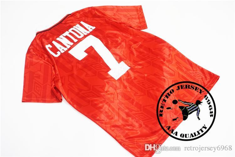 Free shipping 1993-94 Home Shirt Cantona #7 Giggs #11 Keane #16 Beckham #23 velvet naemsets retro old soccer jersey