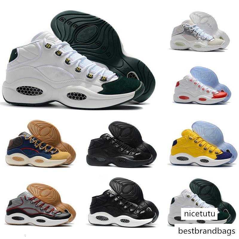 Classic Allen Iverson 1 oliva Verde Giallo Rosso di pallacanestro scarpe di alta qualità Mens Trainers risposta Uno AI Sport Sneakers 40-46
