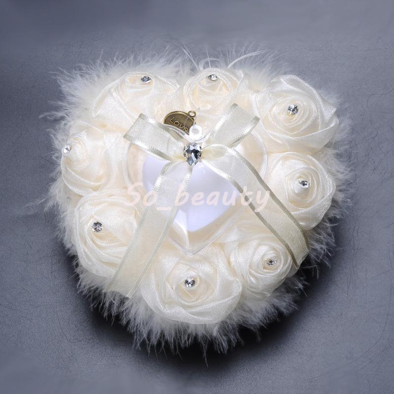 Wedding Ring Pillow with Heart Box Floral Heart Shape Satin Rose Cushion Marriage Creative Suppliers High Quality BS5708