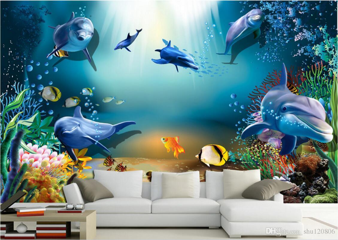Papier Peint Deco Marine acheter 3d papier peint sur le mur personnalisé photo murale marine  aquarium de dauphins fond décoration pour la maison salon papier peint pour  murs