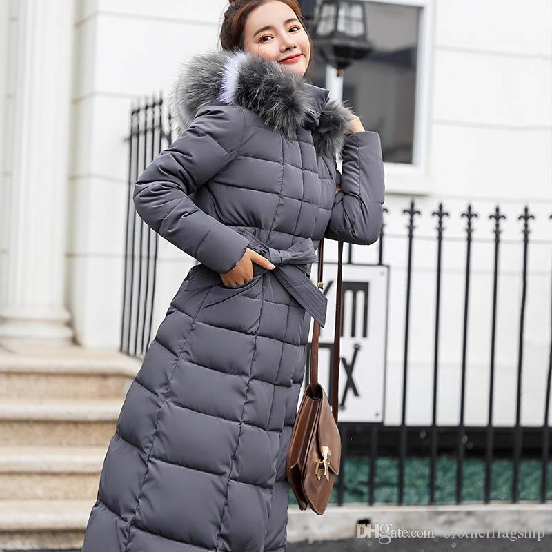 Women Down Jacket Fashion Warm Long Hooded Female Jacket Long Coat Casual Cotton-padded Long Sleeve Parkas Down Coat Winter