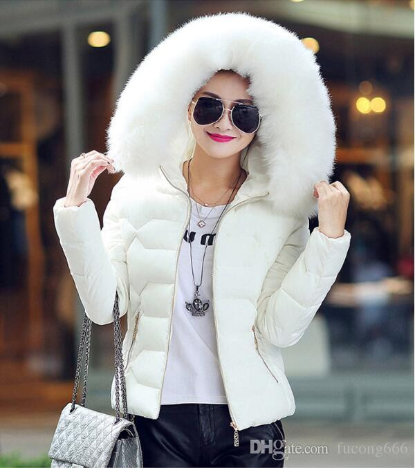 Free shipping new fashion high quality women's winter big fur hooded collar coat women's warm short paragraph basic jacket slim jacket femal