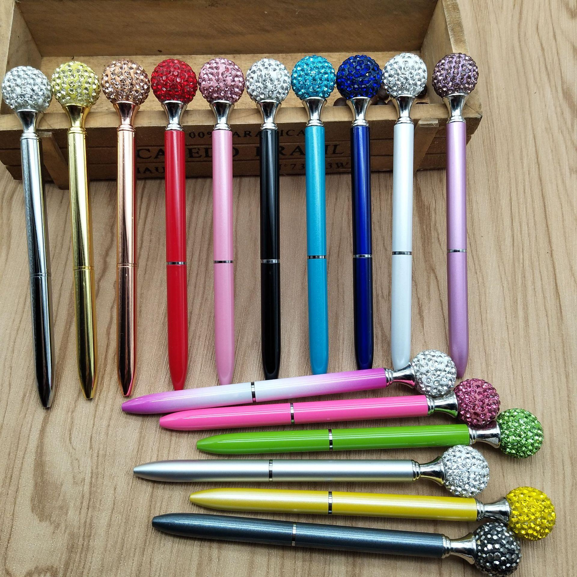 Big Diamond Ball Pen Rhinestones Crystal Metal Ballpoint Pens Black Ink, Different Colors for Women Girls School Office Supplies,Black Ink