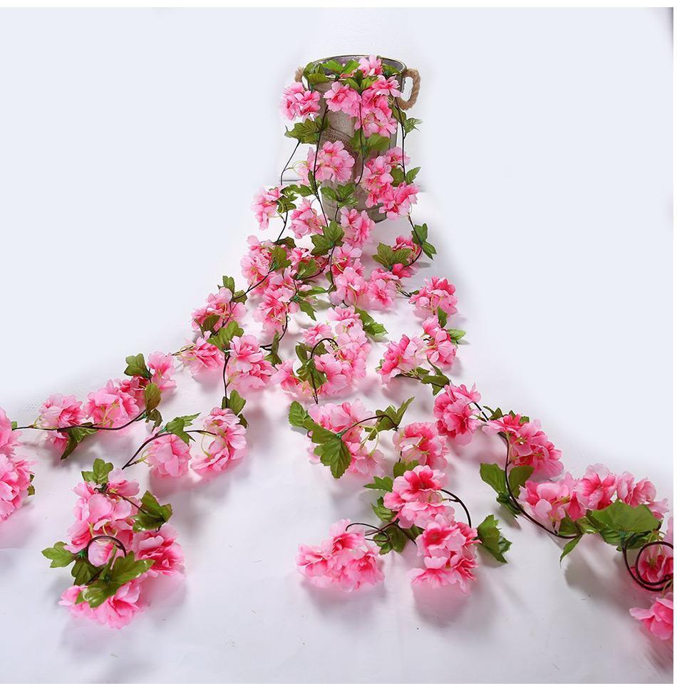 Luyue 233 سنتيمتر الاصطناعي أزهار الكرز زهرة فاينز إمدادات حزب جارلاند الحرير وهمية الكرز زهرة الروطان الزفاف ديكور المنزل
