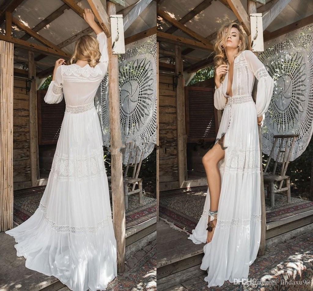 Inbal Raviv 2019 Long Sleeve Wedding Dresses Crochet Lace Chiffon Flowing Flare Greek Goddess Beach Bohemian Bridal Dress
