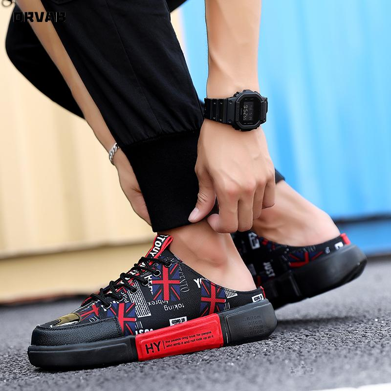 City Leisure Estate uomini scarpe traspiranti Mezza Pantofole Scarpe Uomo Casual tela Slip-On Sneakers Mens Mocassini