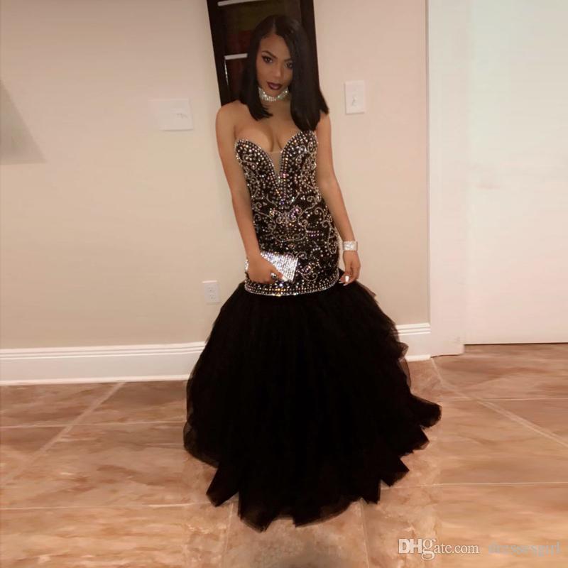 Los cristales negros de la sirena vestidos de baile de novia tul con cuentas de longitud de las lentejuelas del partido formal vestidos de noche 2020 para las muchachas negras