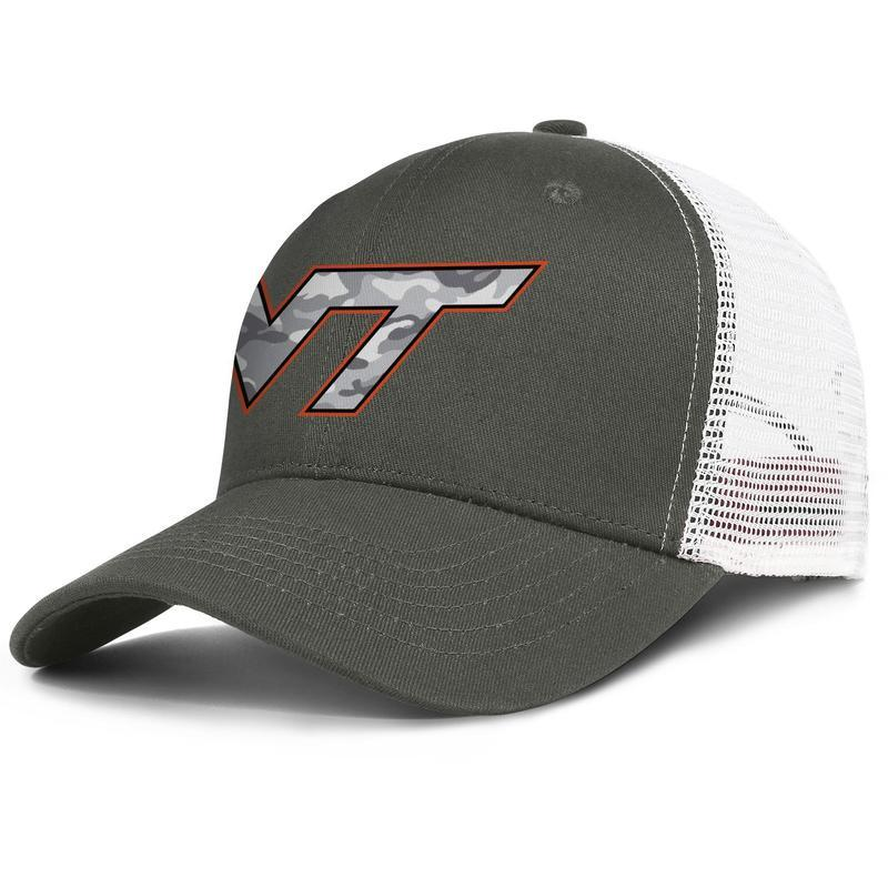 Virginia Tech Hokies Gray Camouflage Football army-green for men and women trucker cap ball cool custom customize mesh hats Red White