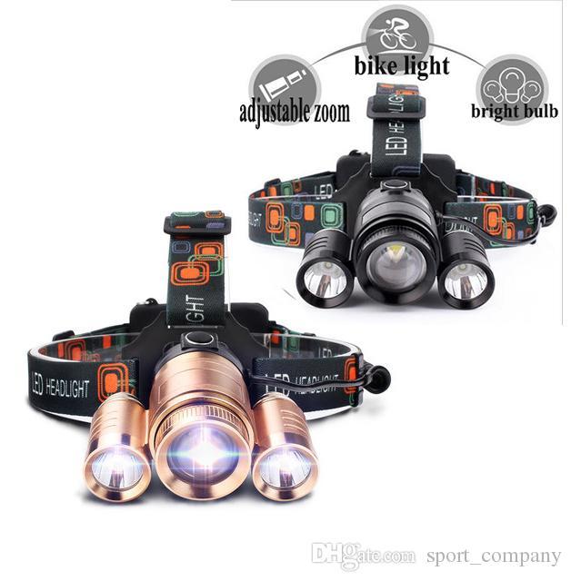 Nuovo faro T6 LED 2 in 1 faro luce per bici Ultra Bright Zoom Impermeabile campeggio caccia torcia testa lampada DHL libero