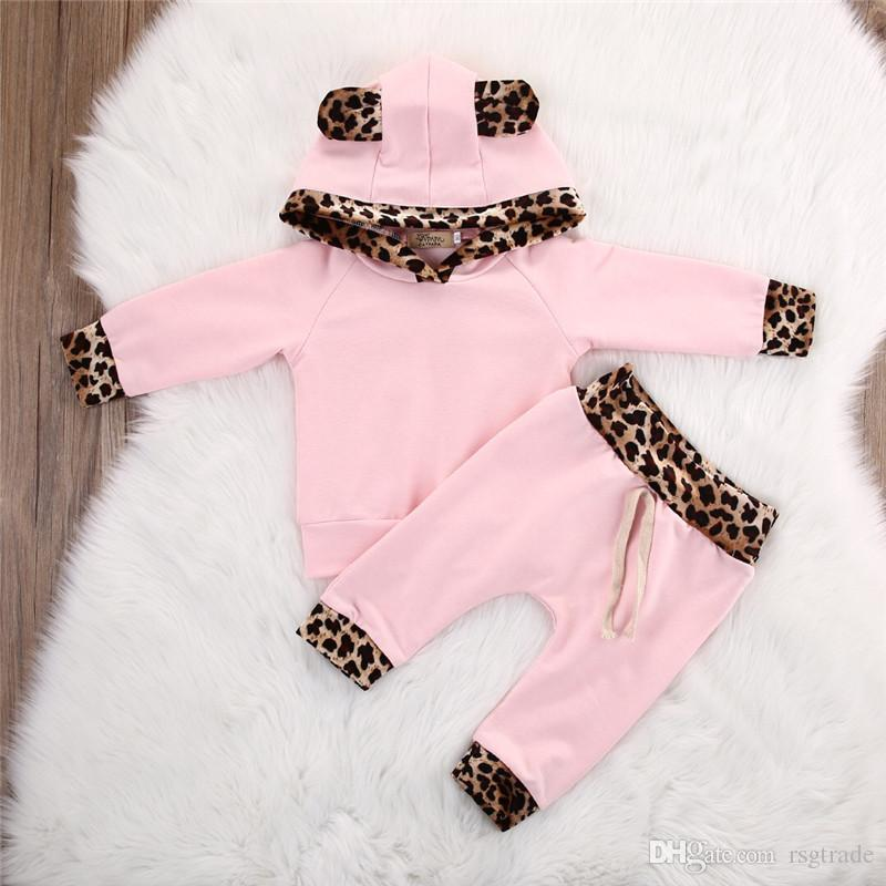 Newest Designs Infant Baby Girls Leopard Hoodies Suits Cat Ears Hat Hooded Patchwork Tops With Stripes Elastic Pants 2pieces Kids Clothing