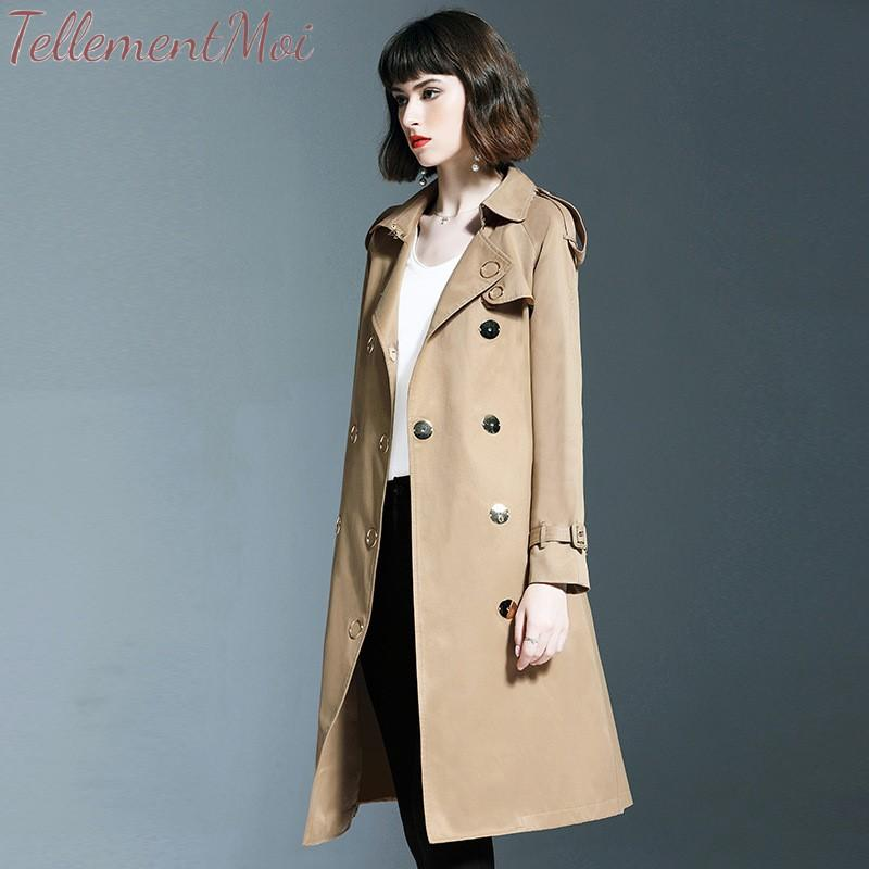 Trench Coat Women's Casual Solid Double Breasted Long Coat Sashes Office Chic Slim Vintage Long 2019 New Autumn