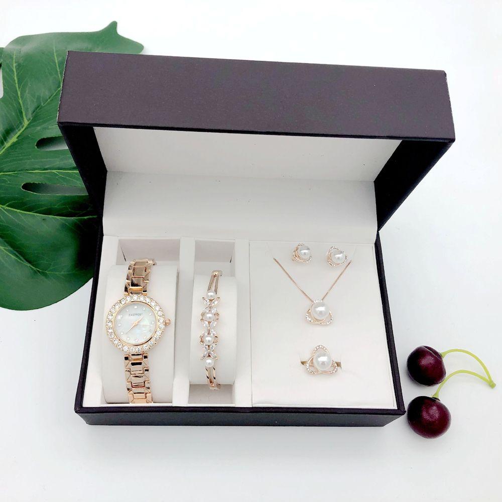 Women Quartz Watch Set Luxury 5 Pcs sets Pearl Bracelet Necklace Ring Earrings Ladies Birthday Gift Fashion Valentine's Day Gift SH190929