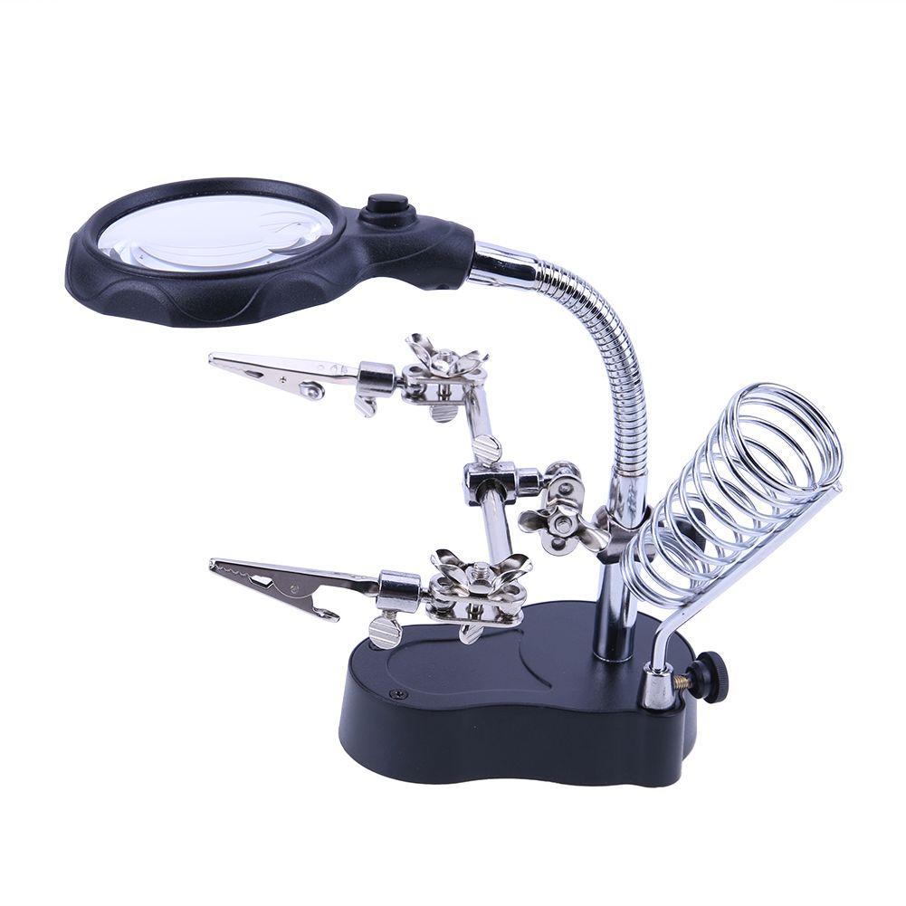 Schweiß Lupe mit LED-Licht 3.5X-12X Objektiv Hilfs Clip Loupe Desktop-Lupe Dritte Hand Löten Reparatur-Werkzeug