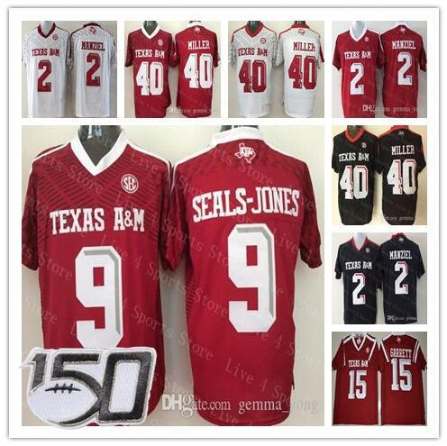 2019 Hot sale 150TH Texas A&M Aggies Football Jersey 15 Myles Garrett 2 Johnny Manziel 9 Ricky Seals-Jones 40 Von Miller Men NCAA College