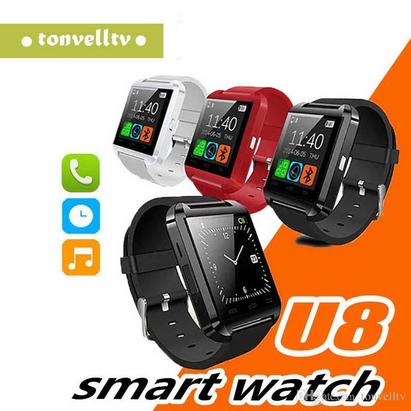 Wholesale U8 Smart Watch Waterproof Bluetooth Smartwatch Sport Pedometer Wrist Smart Watches For Android iPhone Apples Cell Phone
