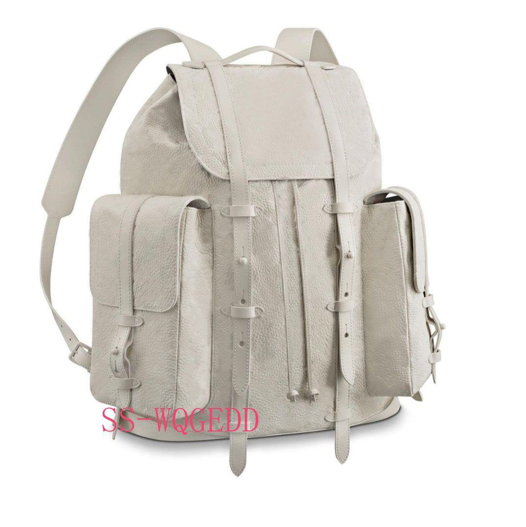New top designer backpack m53286 single transparent white leather book backpack single Jean handbag sport backpack rock climbing beach bag