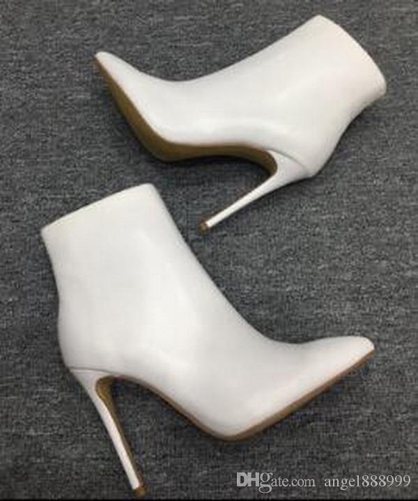 Nouveau Automne et hiver fait à la main Chaussures à talons hauts Mode Pointé Bottes à talons fins en peau de mouton noir Bottes à talons aiguilles Martin Bottines pour femmes