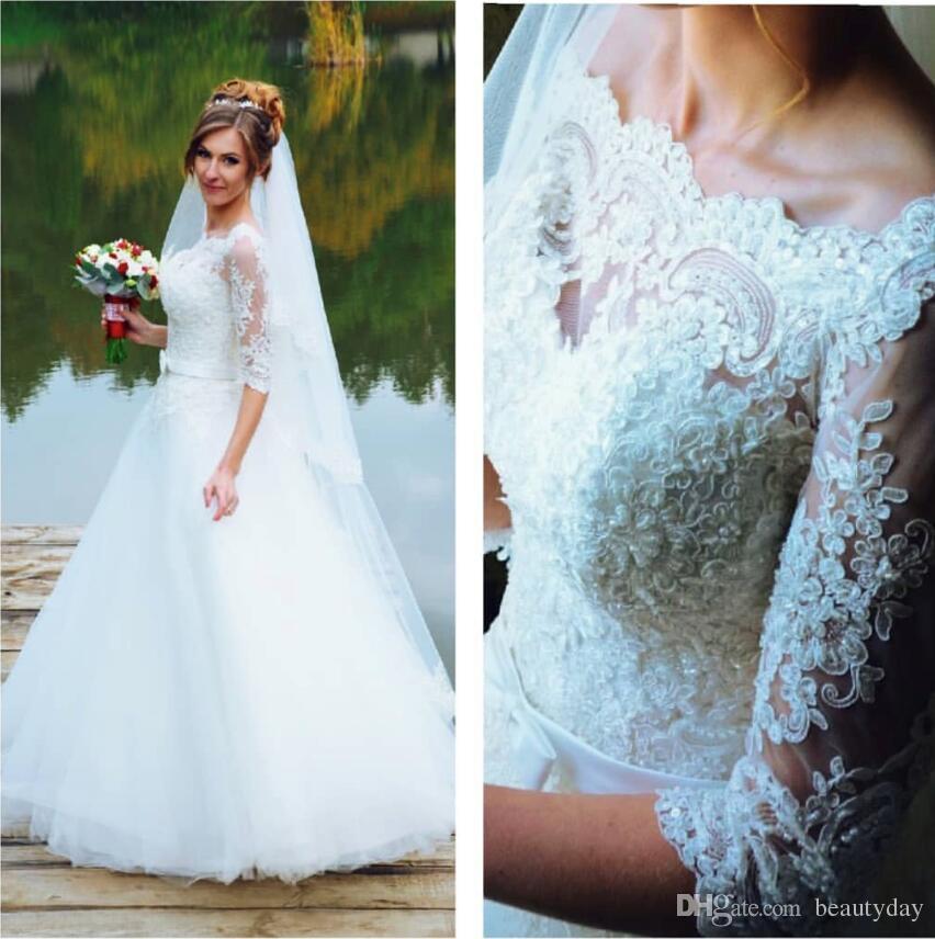 Свадебные платья Beach 2019 Последнее платье А-силуэта для новобрачных Свадебные платья Половина рукава Белые кружевные тюли на молнии Назад