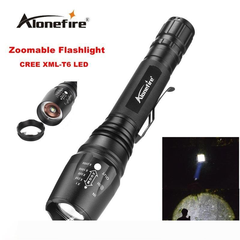 Alonefire H200 CREE XM-L T6 LED 5Mode High power Tactical Waterproof Zoomable Flashlight Torch light for 2x18650 Rechargeable battery