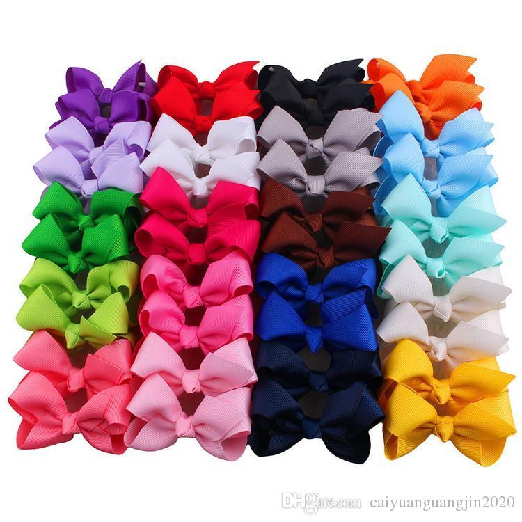Klip Butik Saç Yaylar Saçın pimleri Saç Bağları 40pcs / lot ile 2020 Renkler Koreli 3 INCH Grogren Şerit Hairbows Kız Bebek Aksesuarları